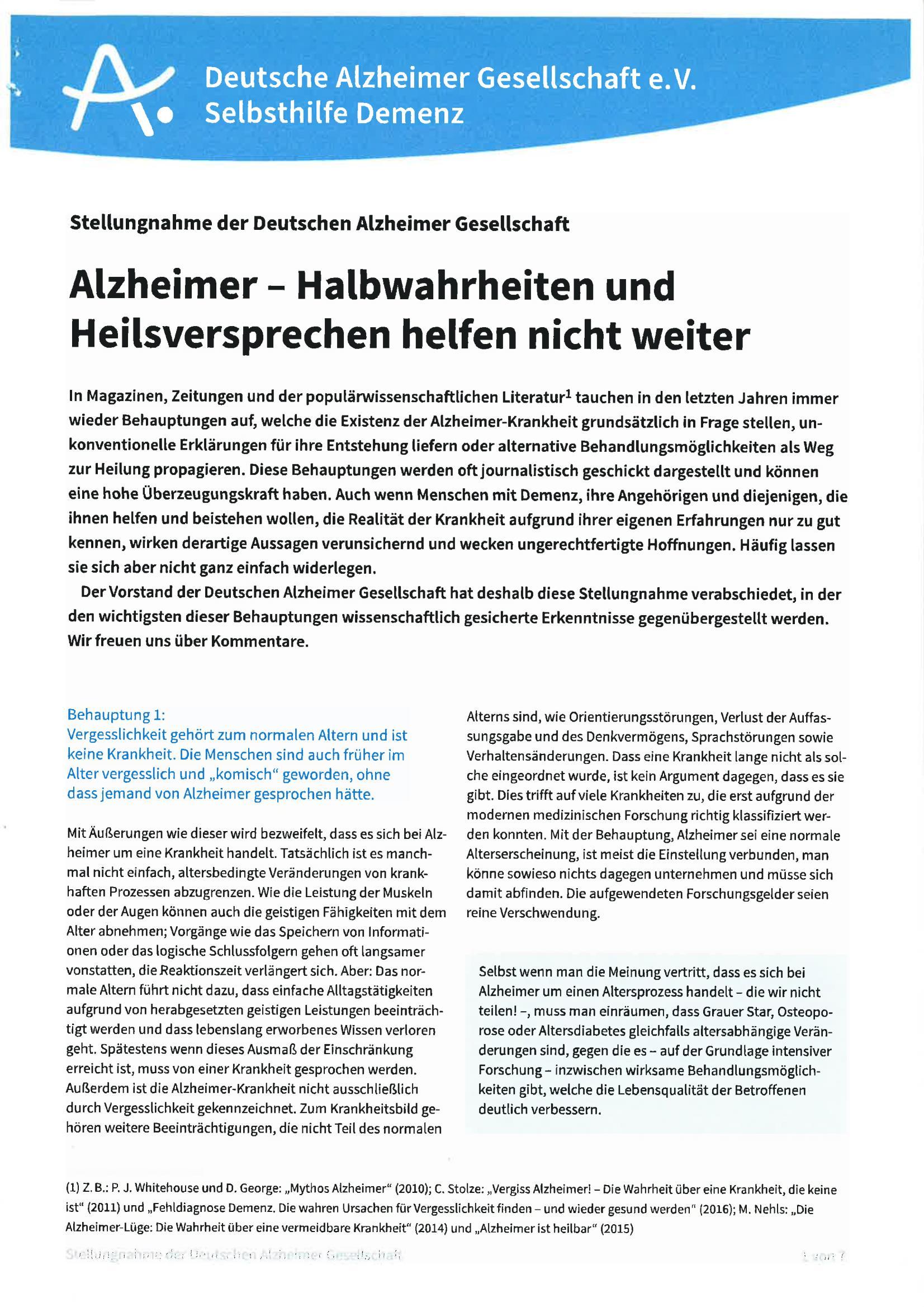 Alzheimer - Halbwahrheiten und Heilsversprechen helfen nicht weiter