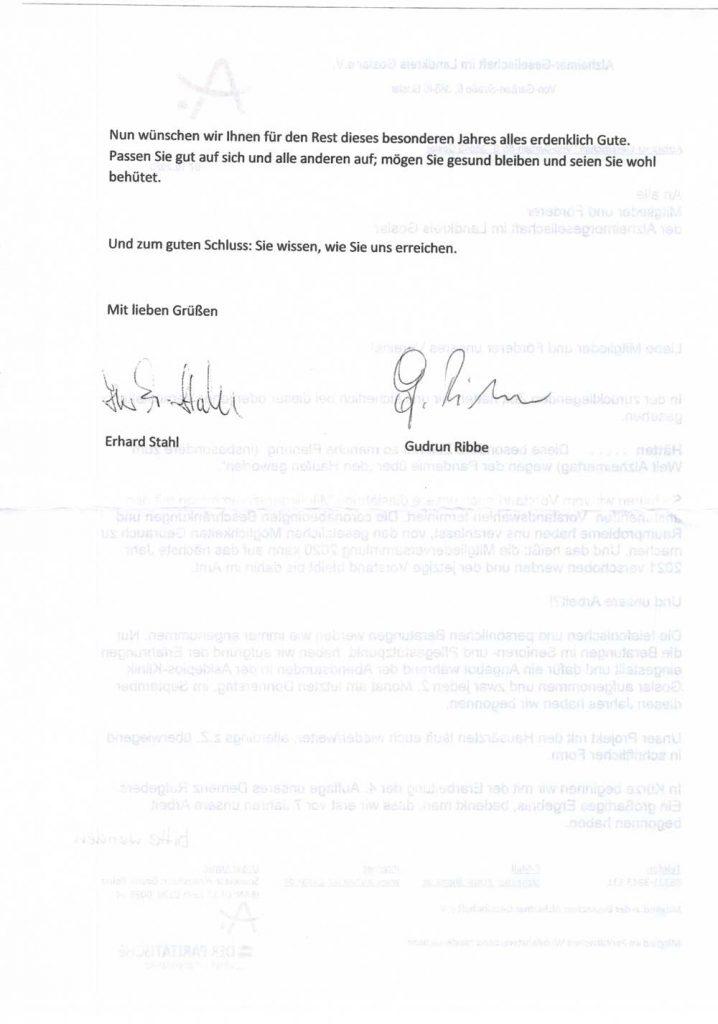 Mitglieder-Rundbrief der Alzheimer Ges. LK Goslar Oktober 2020